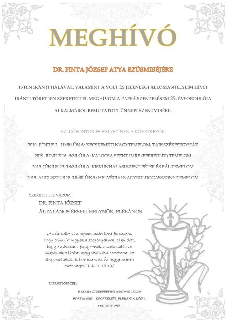 Dr. Finta József plébános atya ezüstmiséje
